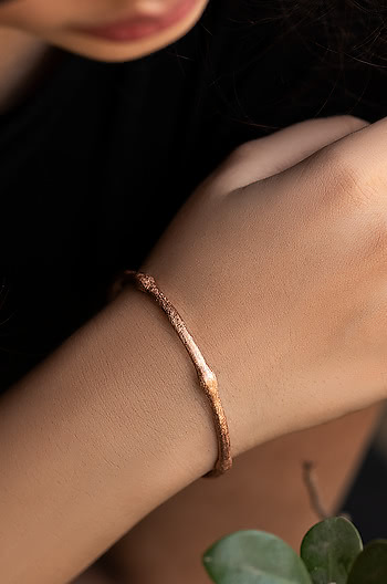 Emily R Bangle in Rose Gold Plating
