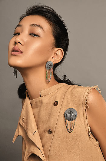 Antique Telin Shield Earrings