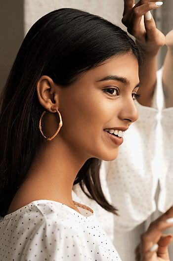 Emily R Hoops in Rose Gold Plating