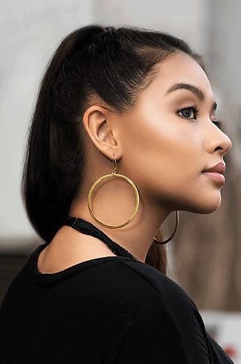 Selena G Midi Hoops in Gold Plating