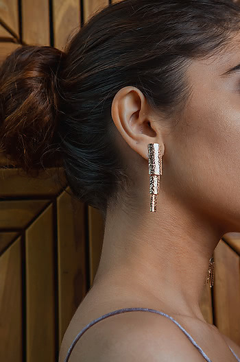 You and Me Earrings in Rose Gold Plating