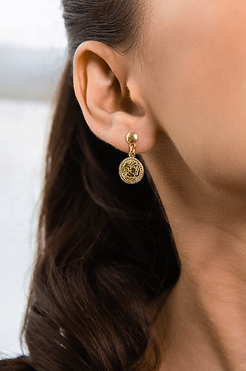 On a Dime Earrings in Gold Plating
