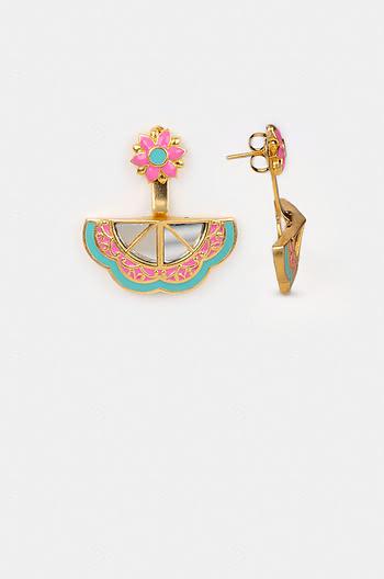 Genda Phool Earrings in Gold Plated Brass