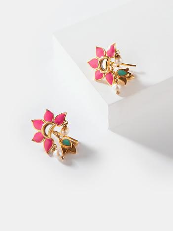 Maahi Ve Earrings in Gold Plated Brass