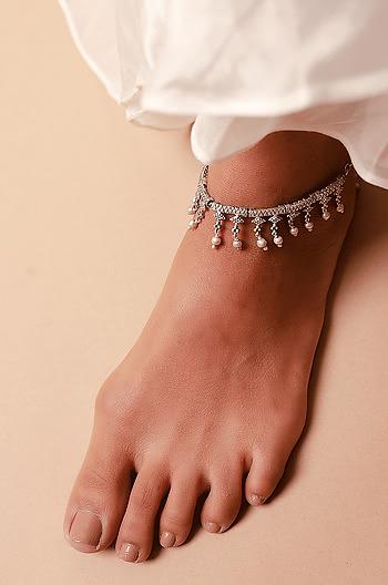 Antique Nanamma's Temple Visit Anklet in 925 Silver