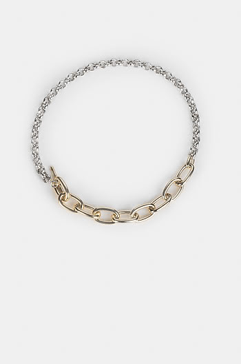 Super Bass Toggle Necklace in  Gold and Rhodium Plating