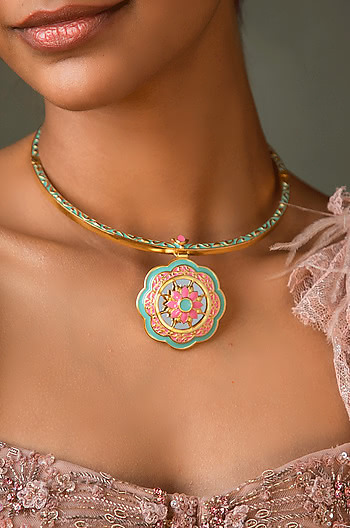 Genda Phool Necklace in Gold Plated Brass