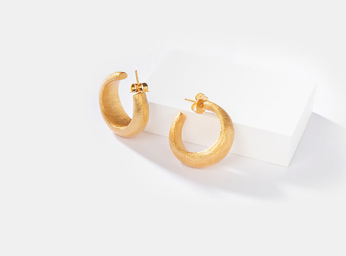 Hailey B Hoops in Gold Plating