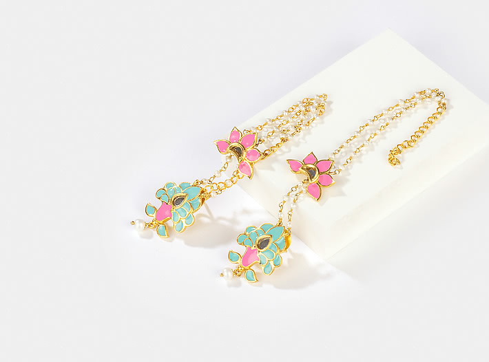 Navrai Majhi Earrings in Gold Plated Brass