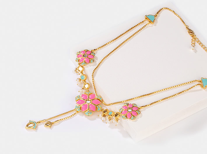 Gal Mithi Necklace in Gold Plated Brass