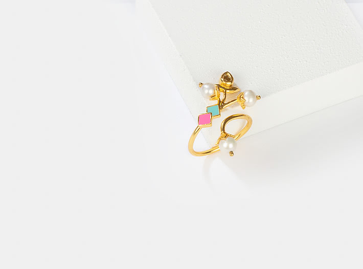 Morni Banke Ring in Gold Plated Brass