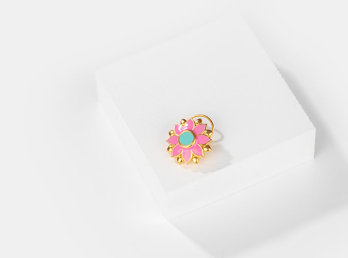 Genda Phool Nose Pin in Gold Plated Brass